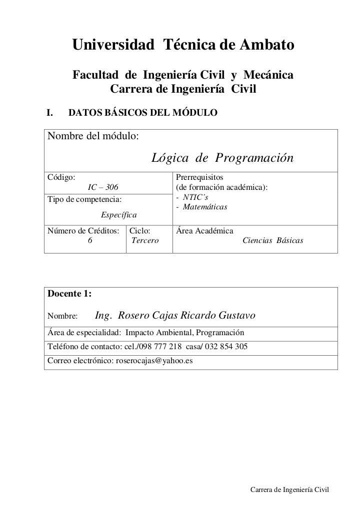 Universidad Técnica de Ambato      Facultad de Ingeniería Civil y Mecánica             Carrera de Ingeniería CivilI.   DAT...