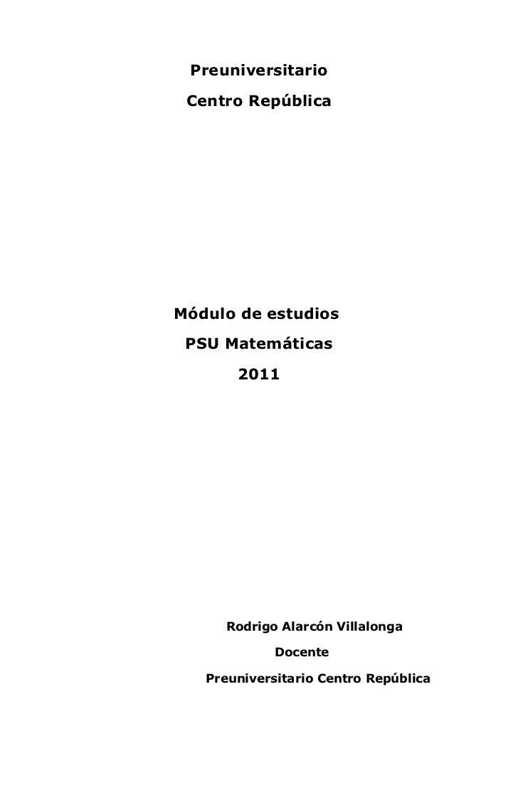 Modulo matemáticas 2011