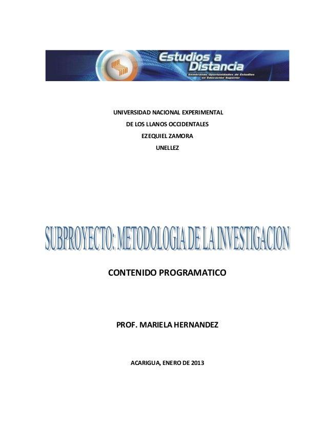 UNIVERSIDAD NACIONAL EXPERIMENTAL   DE LOS LLANOS OCCIDENTALES        EZEQUIEL ZAMORA            UNELLEZCONTENIDO PROGRAMA...