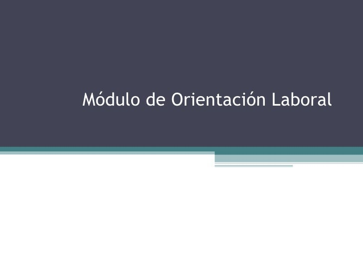 Módulo de Orientación Laboral