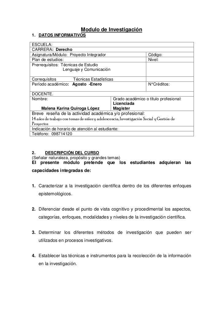 Modulo de Investigación1. DATOS INFORMATIVOSESCUELA:CARRERA: DerechoAsignatura/Módulo: Proyecto Integrador                ...