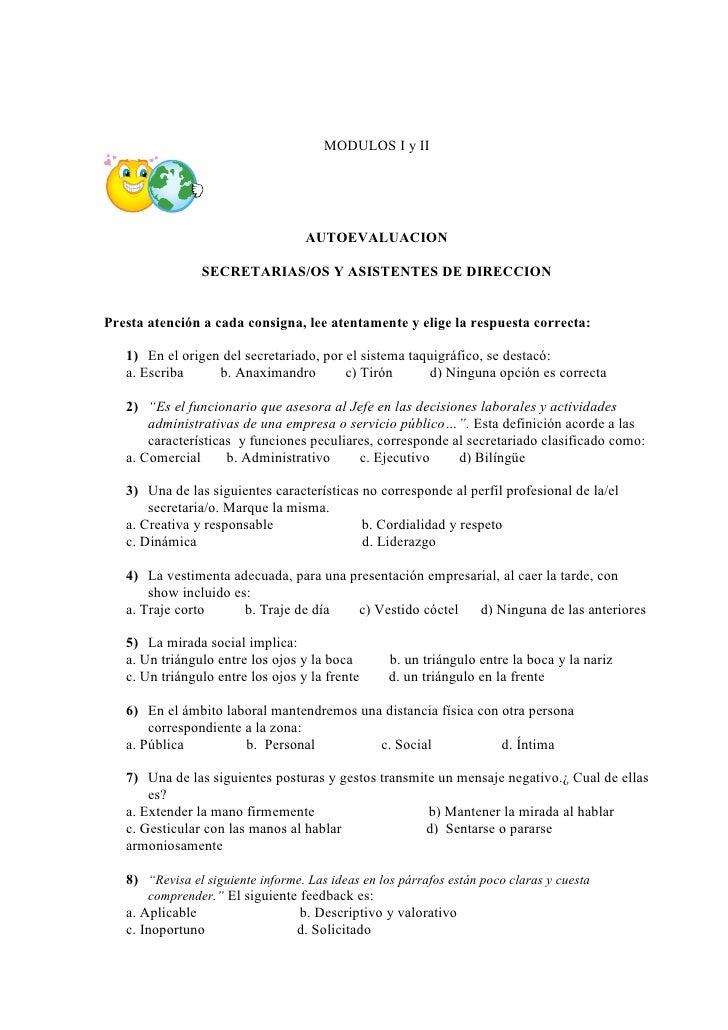 MODULOS I y II                                        AUTOEVALUACION                  SECRETARIAS/OS Y ASISTENTES DE DIREC...