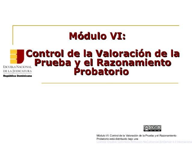 Módulo VI:Módulo VI: Control de la Valoración de laControl de la Valoración de la Prueba y el RazonamientoPrueba y el Razo...