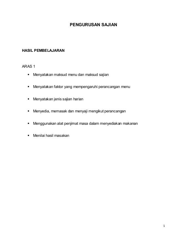 Modul pengurusan sajian tingkatan 4