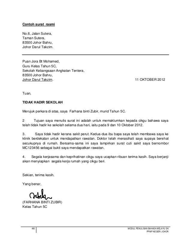 Surat Rasmi Tidak Hadir Ke Sekolah Kerana Banjir Surat Dd