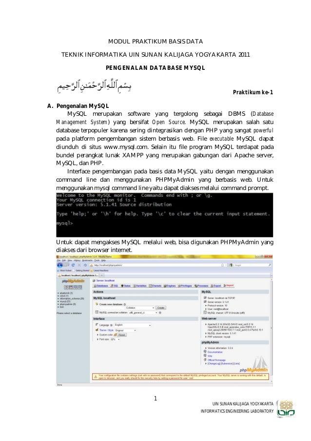 MODUL PRAKTIKUM BASIS DATA     TEKNIK INFORMATIKA UIN SUNAN KALIJAGA YOGYAKARTA 2011                     PENGENALAN DATABA...