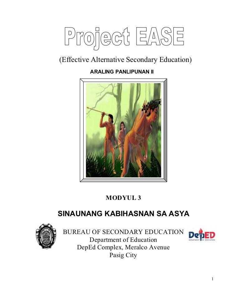 (Effective Alternative Secondary Education)          ARALING PANLIPUNAN II               MODYUL 3SINAUNANG KABIHASNAN SA A...
