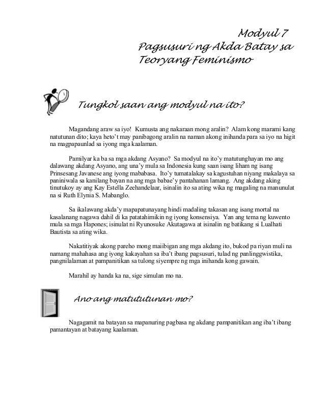 Modyul 7 pagsusuri ng akda batay sa teoryang feminismo