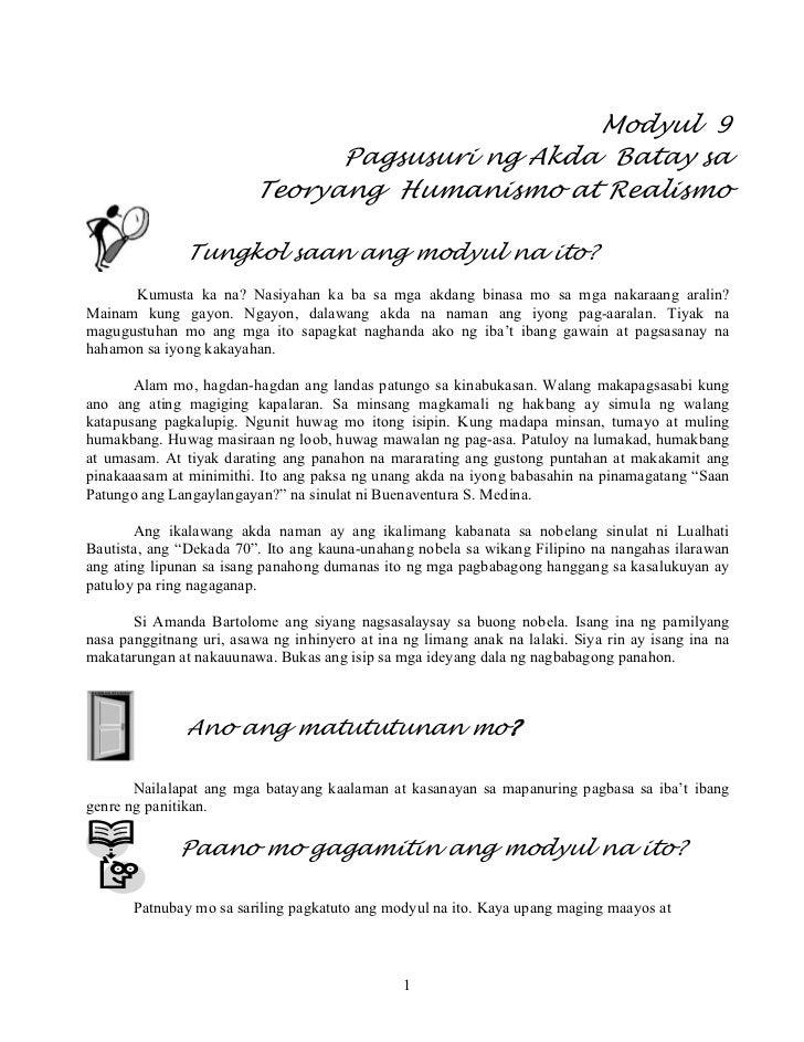 Modyul 9                               Pagsusuri ng Akda Batay sa                         Teoryang Humanismo at Realismo  ...