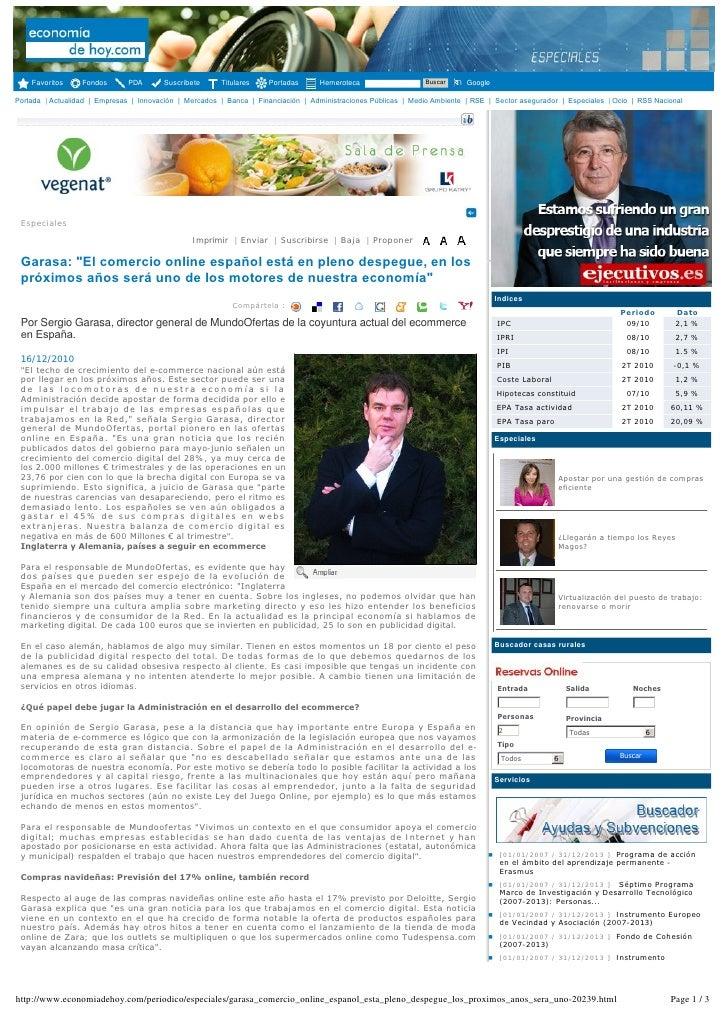 """MundoOfertas Muestras Gratis en Economiadehoy.com Sergío Garasa: """"El comercio online español está en pleno despegue 16 dic10"""