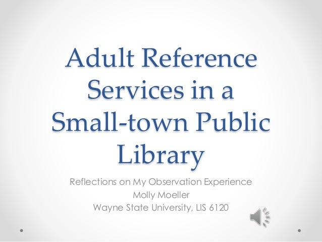 Adult Reference Services in a Small-town Public Library Reflections on My Observation Experience Molly Moeller Wayne State...