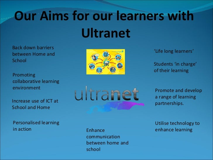 Our Aims for our learners with  Ultranet Increase use of ICT at School and Home Back down barriers between Home and School...