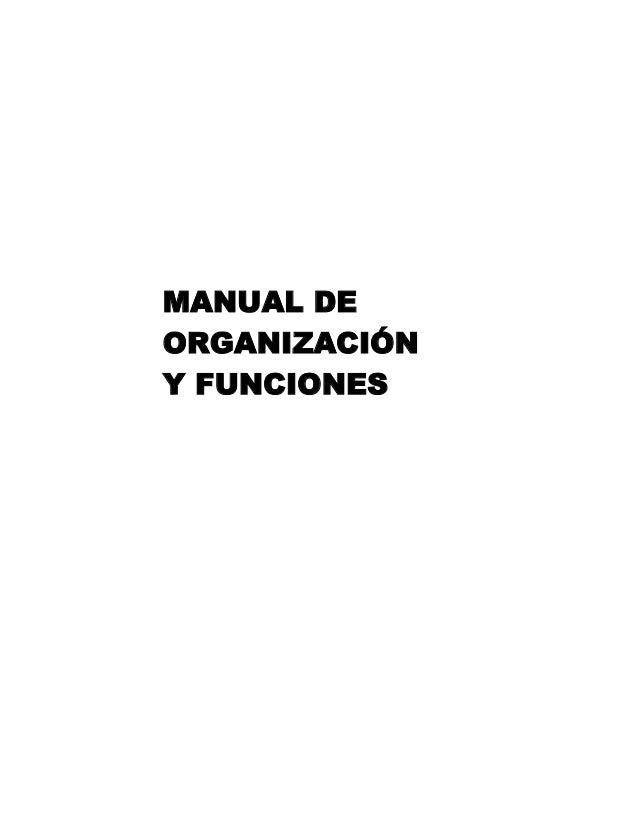 MANUAL DEORGANIZACIÓNY FUNCIONES