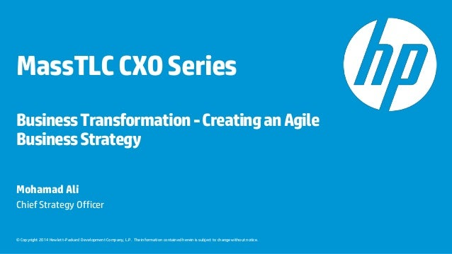 Mohamad Ali, HP, CXO Business Transformation, May 28, 2014