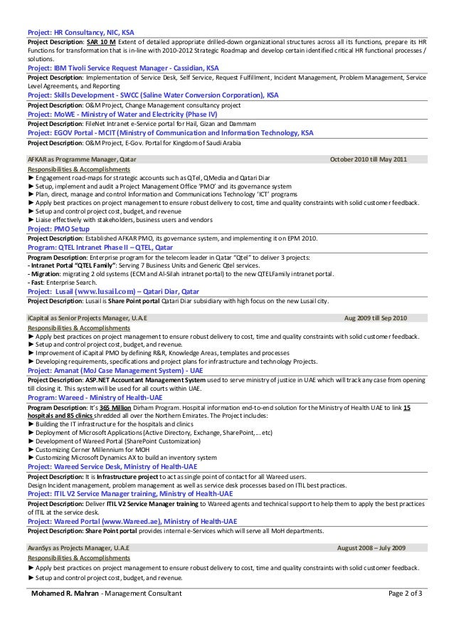 Filenet project manager resume