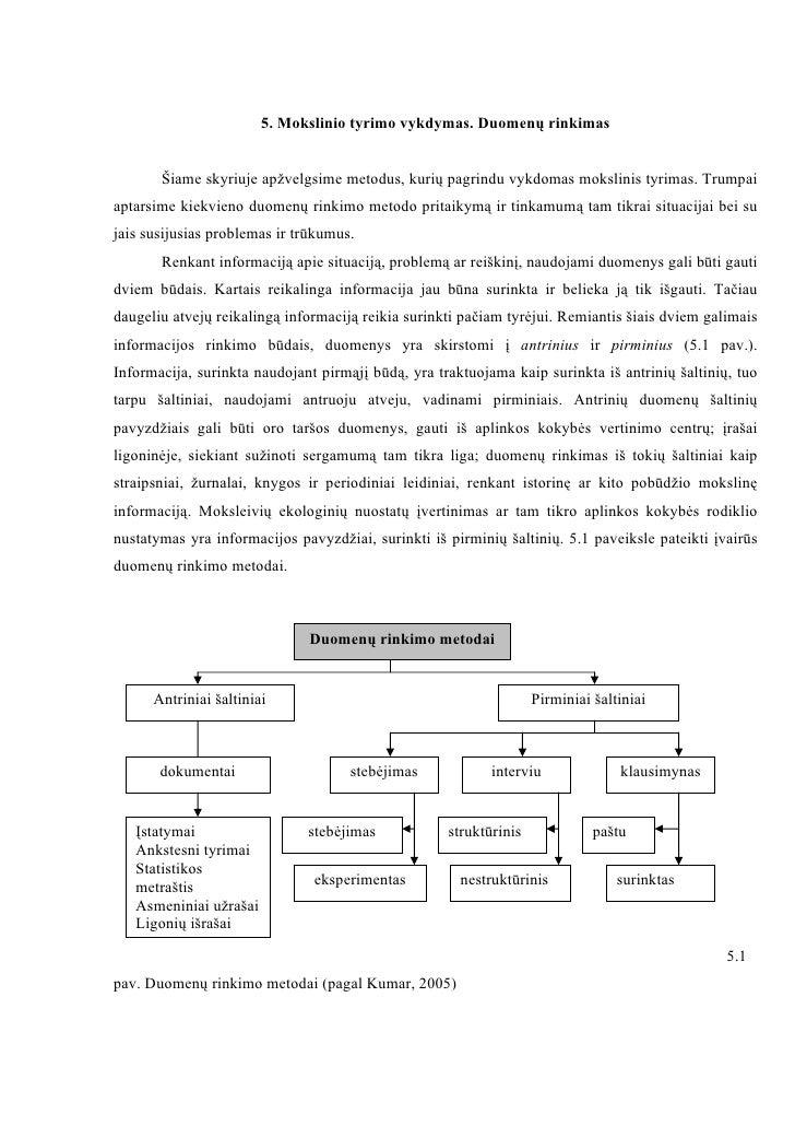 5. Mokslinio tyrimo vykdymas. Duomenų rinkimas       Šiame skyriuje apžvelgsime metodus, kurių pagrindu vykdomas mokslinis...