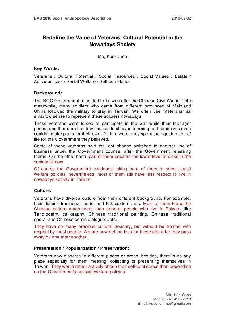 BAS 2010 Social Anthropology Description                               2010-02-02         Redefine the Value of Veterans' ...