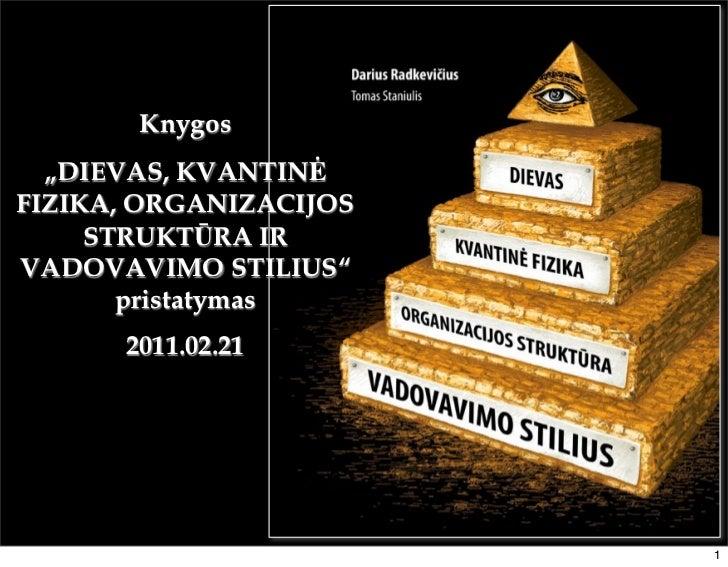 """Knygos  """"DIEVAS, KVANTINĖFIZIKA, ORGANIZACIJOS     STRUKTŪRA IRVADOVAVIMO STILIUS""""       pristatymas      2011.02.21      ..."""