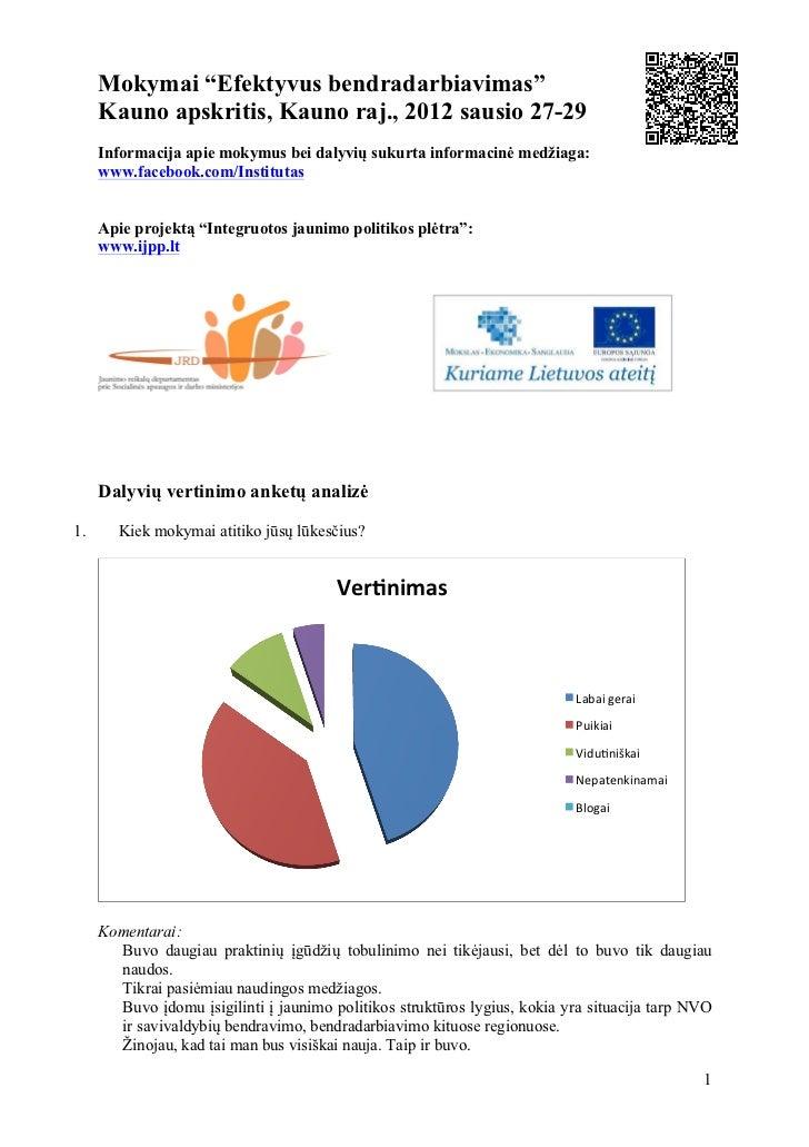 """Mokymai """"Efektyvus bendradarbiavimas""""     Kauno apskritis, Kauno raj., 2012 sausio 27-29     Informacija apie mokymus bei ..."""