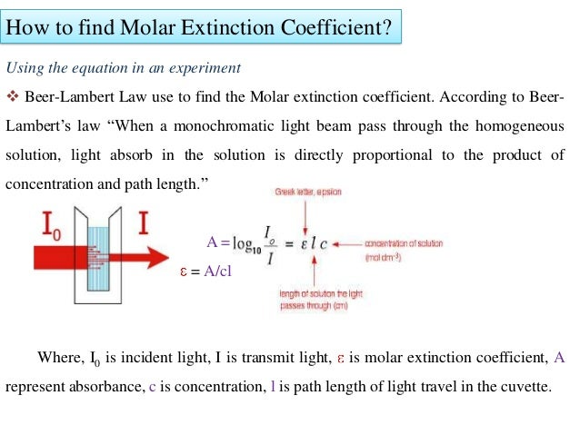 how to use molar extinction coefficient to calculate concentration