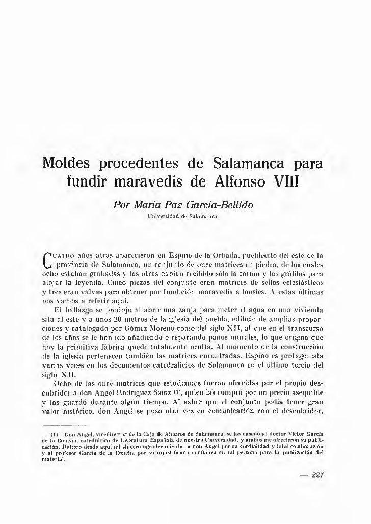 Moldes procedentes de Salamanca para   fundir maravedís de Alfonso VIII                                 Por María Paz Garc...