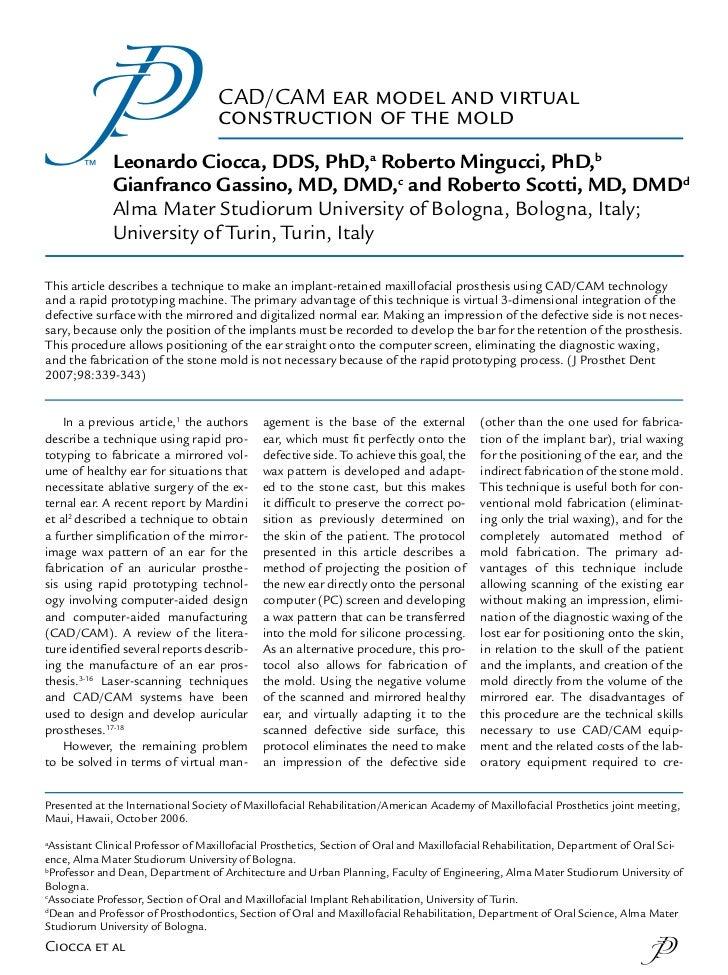 CAD/CAM ear model and virtual                                     construction of the mold               Leonardo Ciocca, ...