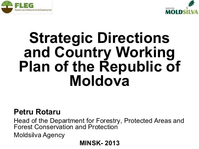 Strategic Directions and Country Working Plan of the Republic of Moldova Petru Rotaru Head of the Department for Forestry,...