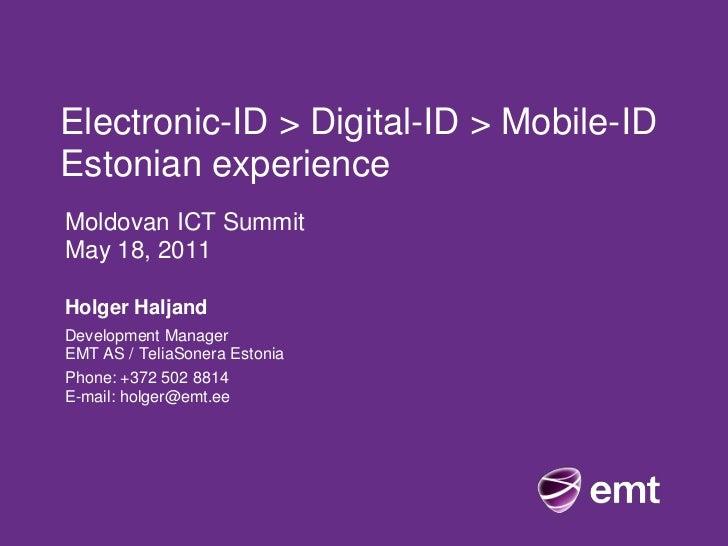 Estonian Experience electronicID, mobileID