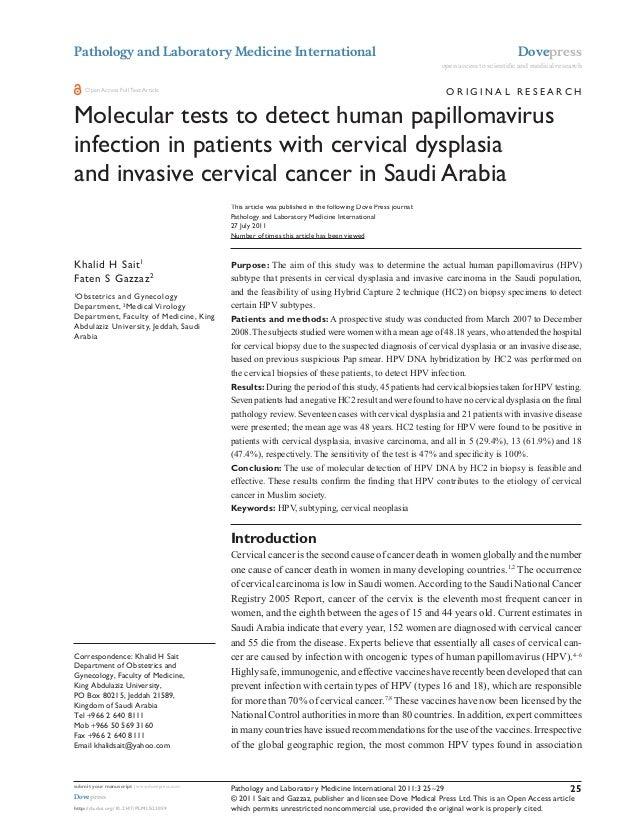 Molecular tests to detect human papillomavirus