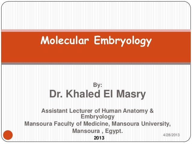 By:Dr. Khaled El MasryAssistant Lecturer of Human Anatomy &EmbryologyMansoura Faculty of Medicine, Mansoura University,Man...