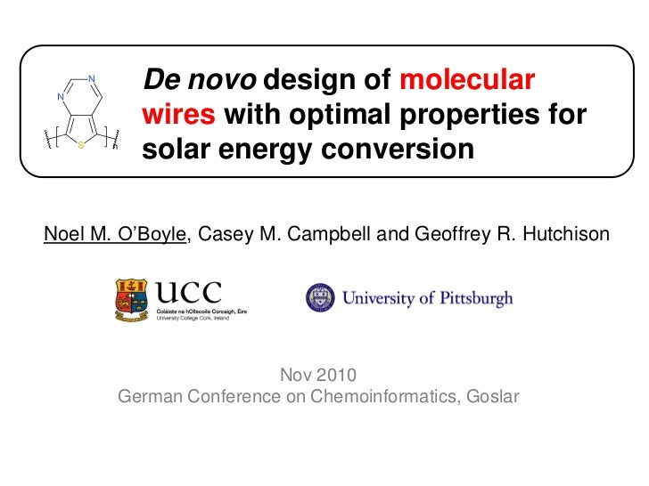 De novo design of molecular wires with optimal properties for solar energy conversion<br />Noel M. O'Boyle, Casey M. Campb...
