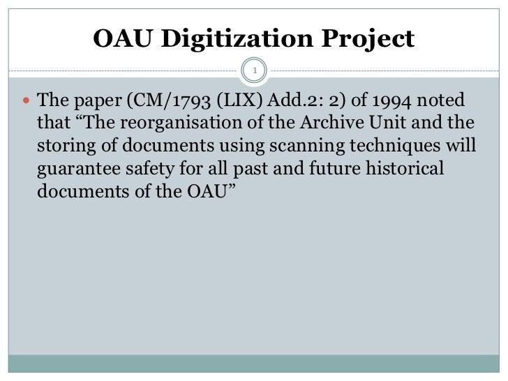 Molefe chedza oau digitization project