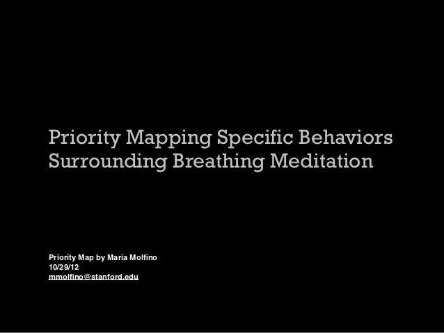 Priority Mapping Specific BehaviorsSurrounding Breathing MeditationPriority Map by Maria Molfino10/29/12mmolfino@stanford.edu