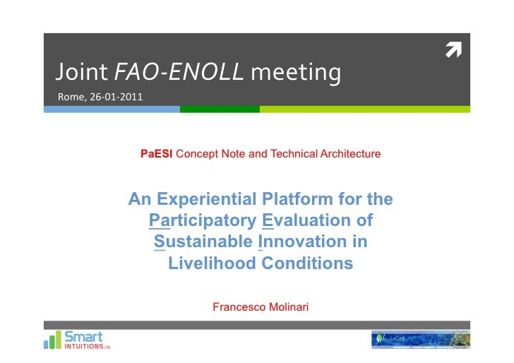 	  Joint	  FAO-­‐ENOLL	  meeting	  Rome,	  26-­‐01-­‐2011	                           PaESI Concept Note and Technical Arc...