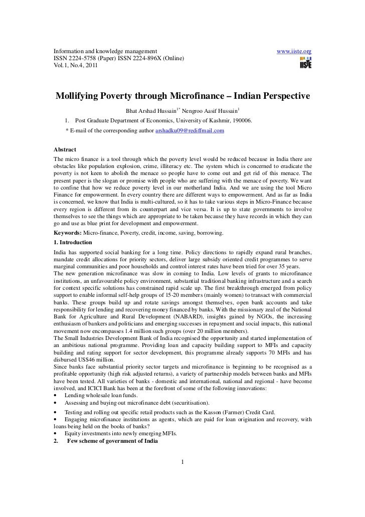 Mollifying poverty through microfinance indian perspective