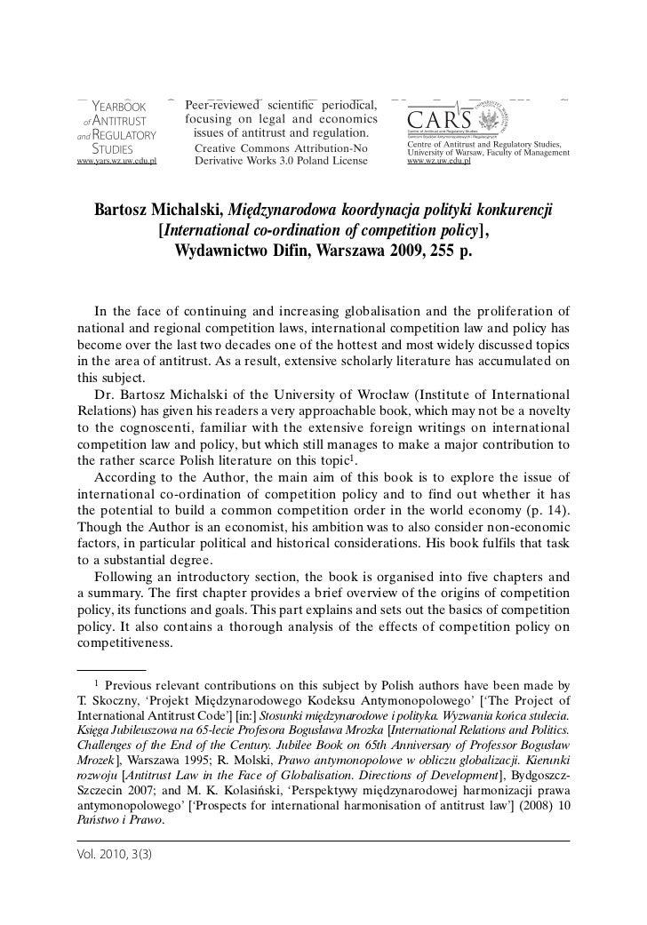 Molski   michalski, międzynarodowa koordynacja polityki konkurencji