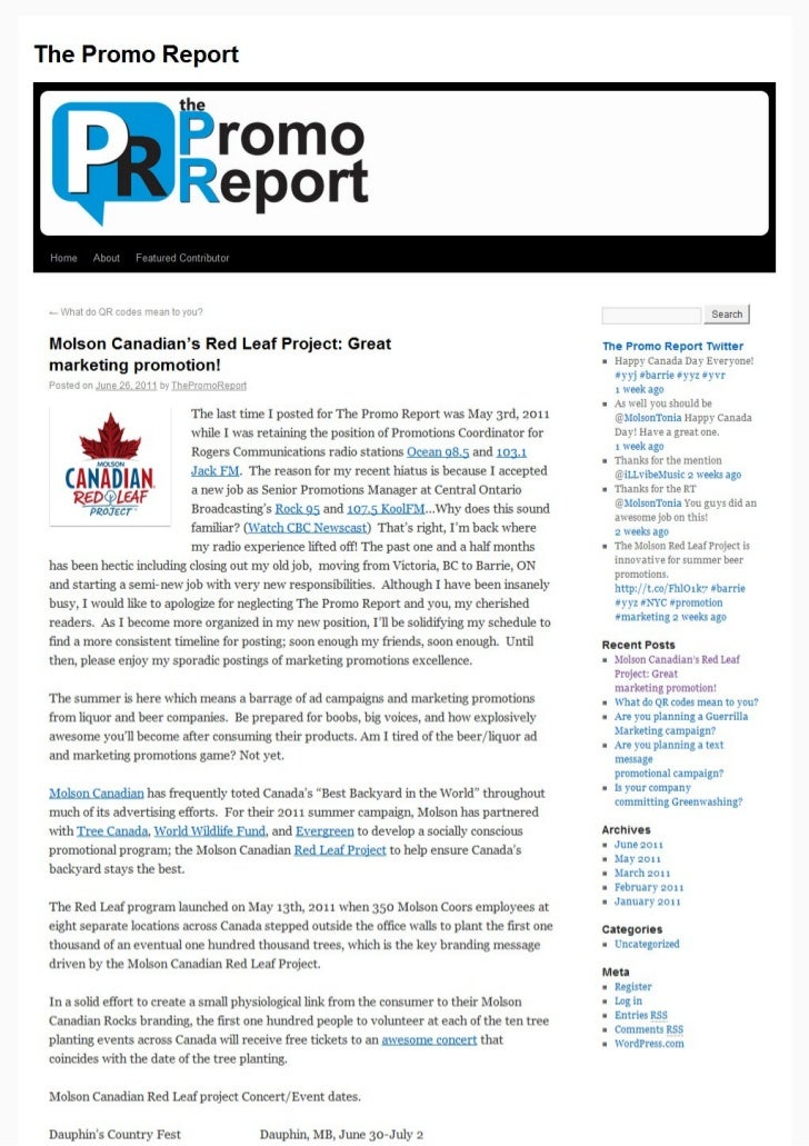 Molson Canadian's Red Leaf Project: Great marketing promotion!