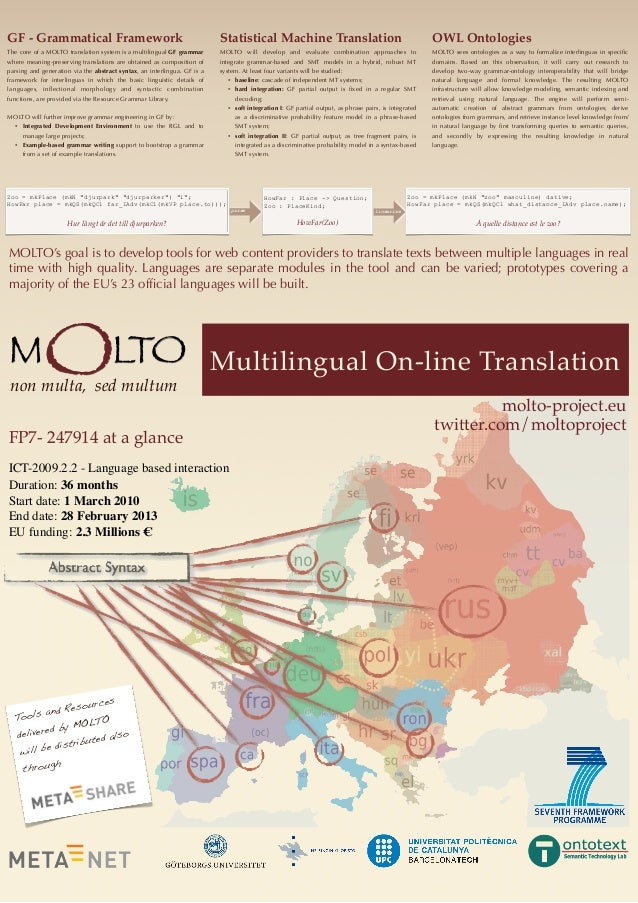 MOLTO's goal is to develop tools for web content providers to translate texts between multiple languages in realtime with ...