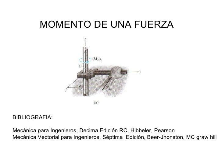 MOMENTO DE UNA FUERZA BIBLIOGRAFIA:  Mecánica para Ingenieros, Decima Edición RC, Hibbeler, Pearson Mecánica Vectorial par...
