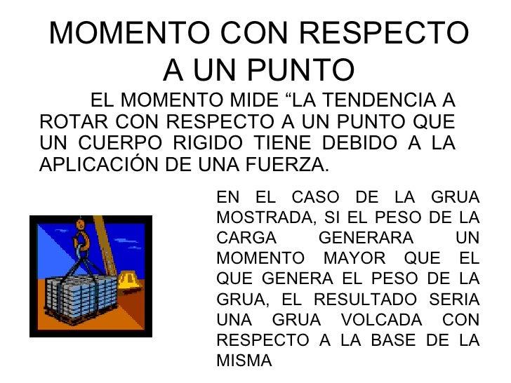 """MOMENTO CON RESPECTO     A UN PUNTO     EL MOMENTO MIDE """"LA TENDENCIA AROTAR CON RESPECTO A UN PUNTO QUEUN CUERPO RIGIDO T..."""