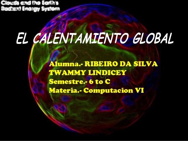 Alumna.- RIBEIRO DA SILVATWAMMY LINDICEYSemestre.- 6 to CMateria.- Computacion VI