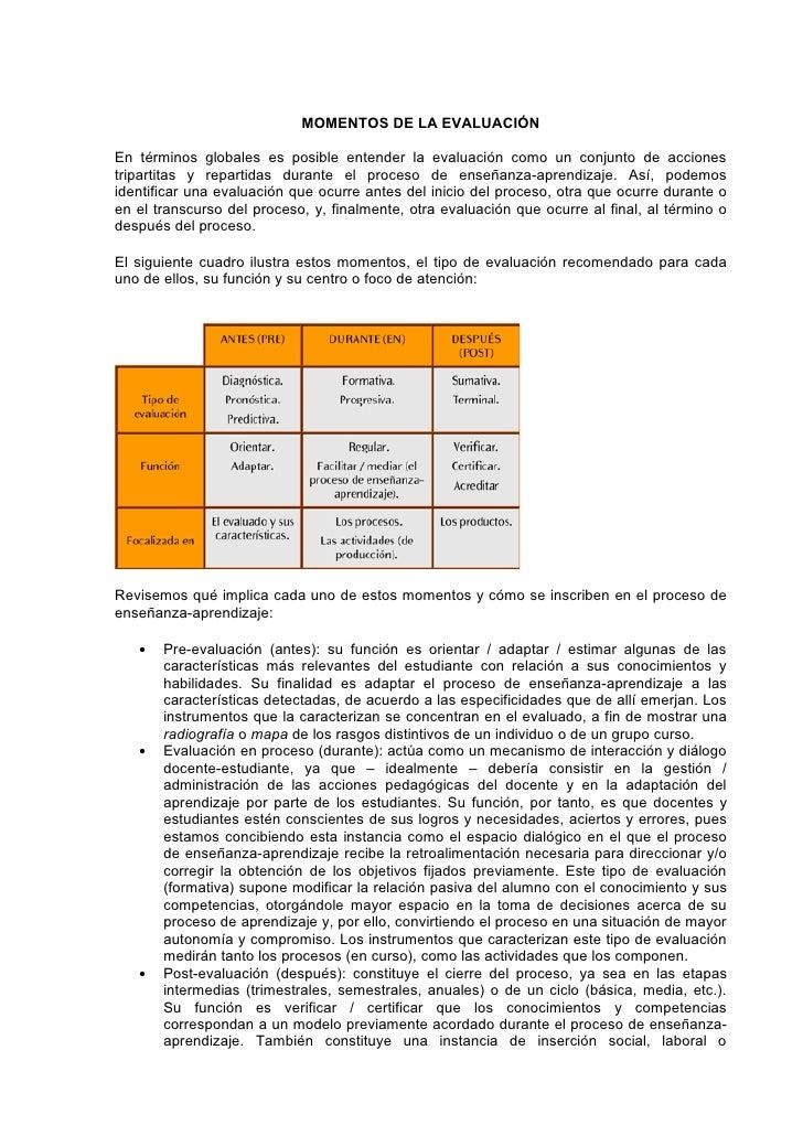MOMENTOS DE LA EVALUACIÓNEn términos globales es posible entender la evaluación como un conjunto de accionestripartitas y ...