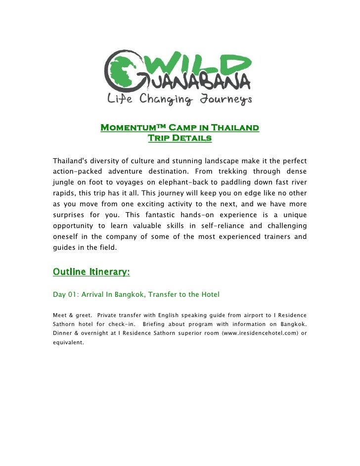 Momentum™ Camp in Thailand                        Trip Details  Thailand's diversity of culture and stunning landscape mak...