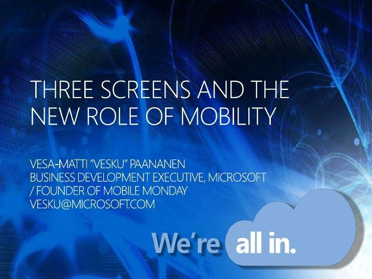 "Vesa-Matti ""Vesku"" Paananen: Three Screens and the New Role of Mobility"