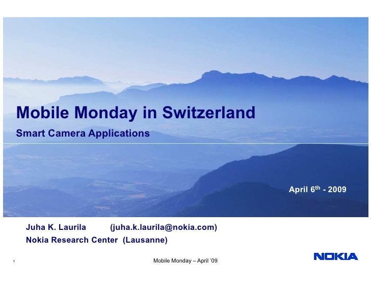 Mobile Monday in Switzerland     Smart Camera Applications                                                                ...