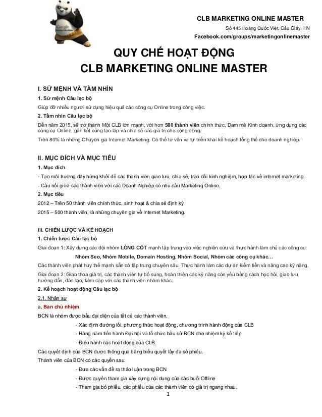 Marketing Online Master CLUB - Quy chế hoạt động