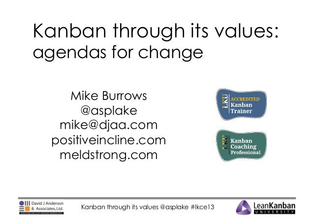 Kanban through its values: agendas for change Mike Burrows @asplake mike@djaa.com positiveincline.com meldstrong.com  Kanb...