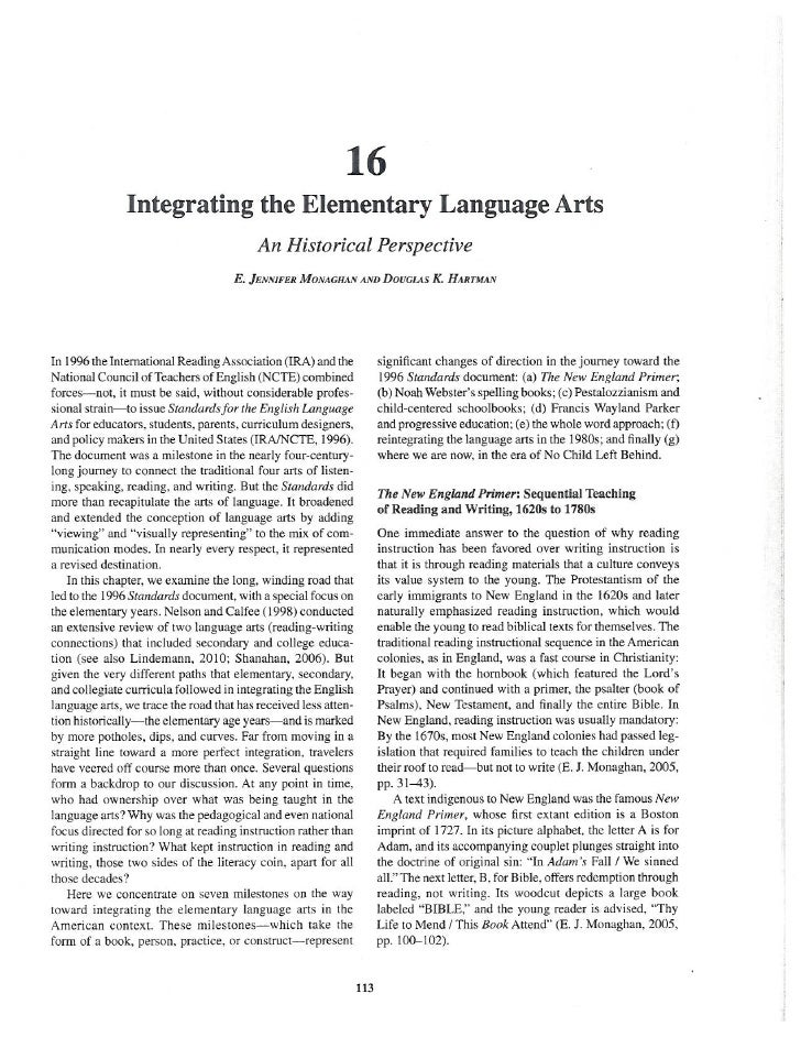 Monaghan Hartman 2011 Integrating the Elementary Language Arts: A History