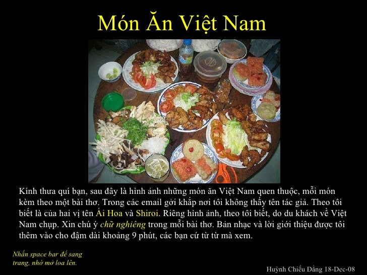 Món ăn Việt Nam - Tình hoài hương