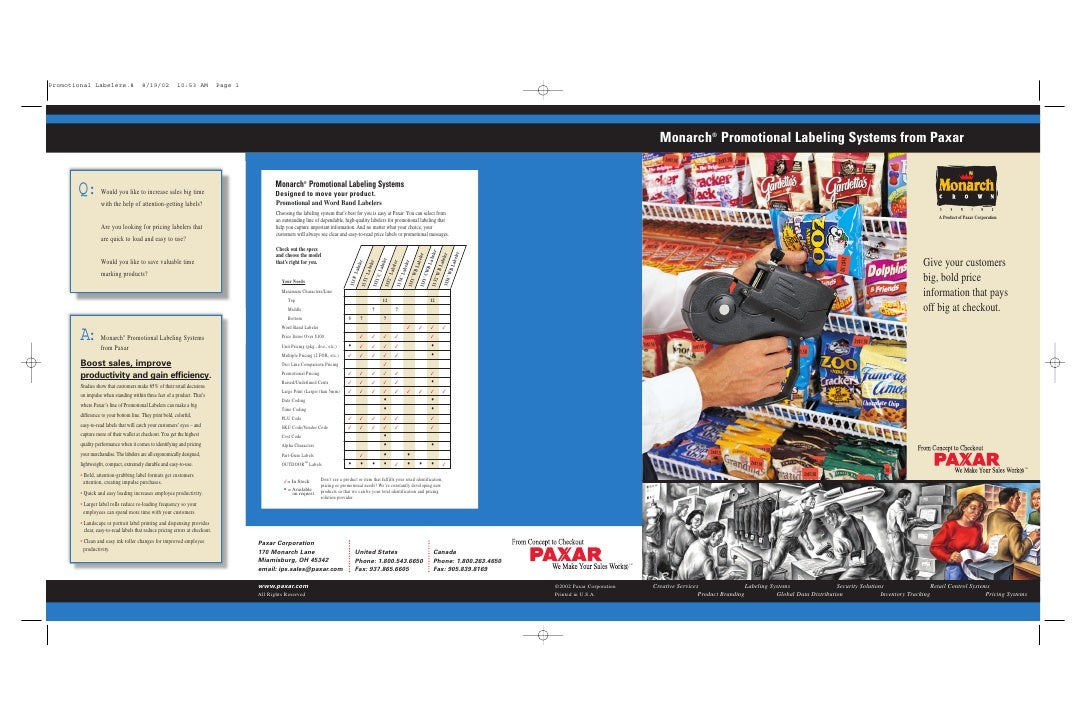 Monarch® Promotional Labeling Systems from Paxar                                                                          ...